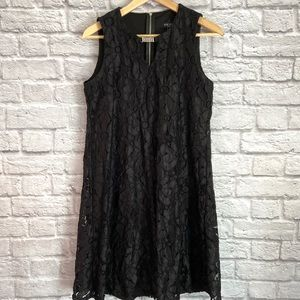 Perceptions Lace Overlay Dress Halter Open Back